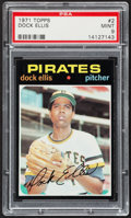 Baseball Cards:Singles (1970-Now), 1971 Topps Dock Ellis #2 PSA Mint 9....