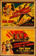 "Movie Posters:War, Commandos Strike at Dawn (Columbia, 1942). Linen Finish Half Sheets(2) (22"" X 28"") Styles A & B. War.. ... (Total: 2 Items)"