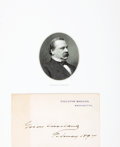 Autographs:U.S. Presidents, President Grover Cleveland Signature on Executive Mansion Card....