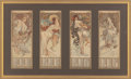 Fine Art - Work on Paper:Print, Alphonse Mucha (Czechoslovakian, 1860-1939). The Seasons(set of four calendar sheets), 1896-97. Lithograph in colors, e...(Total: 3 Items)