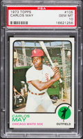 Baseball Cards:Singles (1970-Now), 1973 Topps Carlos May #105 PSA Gem Mint 10....