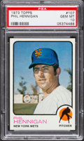 Baseball Cards:Singles (1970-Now), 1973 Topps Phil Hennigan #107 PSA Gem Mint 10 - Pop Four....