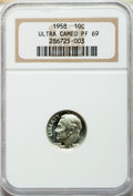 Proof Roosevelt Dimes, 1958 10C PR69 Ultra Cameo NGC....