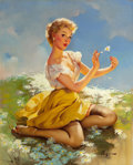Pin-up and Glamour Art, Gil Elvgren (American, 1914-1980). Daisies Are Telling (Love Me,Love Me Not), Brown & Bigelow calendar illustration, 19...