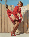 Pin-up and Glamour Art, Gil Elvgren (American, 1914-1980). Unexpected Lift (A NiceCatch), Brown & Bigelow calendar illustration, 1961. Oil onc...