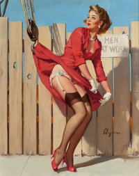 GIL ELVGREN (American, 1914-1980) Unexpected Lift (A Nice Catch), Brown & Bigelow calendar illustration