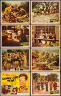 "Movie Posters:War, China's Little Devils (Monogram, 1945). Lobby Card Set of 8 (11"" X 14""). War.. ... (Total: 8 Items)"