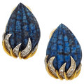 Estate Jewelry:Earrings, Sodalite, Diamond, Gold Earrings. ...