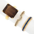 Estate Jewelry:Rings, Diamond, Smoky Quartz, Enamel, Gold Rings. ... (Total: 3 Items)