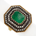 Estate Jewelry:Boxes, Emerald, Diamond, Silver-Topped Gold Ring. ...
