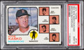 Baseball Cards:Singles (1970-Now), 1973 Topps Red Sox Mgr/Coaches, Brown Background #131 PSA Mint9....