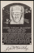 Baseball Collectibles:Others, Joe McCarthy Signed Black and White Plaque Postcard. ...