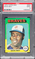 Baseball Cards:Singles (1970-Now), 1975 Topps Mini Dave May #650 PSA Mint 9....