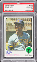 Baseball Cards:Singles (1970-Now), 1973 Topps Dave May #152 PSA Gem Mint 10 - Pop Three....