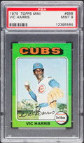 Baseball Cards:Singles (1970-Now), 1975 Topps Mini Vic Harris #658 PSA Mint 9....