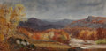 Fine Art - Painting, American:Contemporary   (1950 to present)  , Manner of Jasper Francis Cropsey (American, 20th Century).Autumn Landscape. Oil on canvas. 9-1/4 x 18-1/4 inches (23.5...