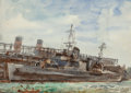 Fine Art - Work on Paper:Watercolor, Reginald Marsh (1898-1954). Freighter. Watercolor and pencilon paper. 13-7/8 x 20 inches (35.2 x 50.8 cm) (sight). Bear...
