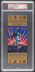 Football Collectibles:Tickets, 1993 Super Bowl XXVII Full Ticket Signed by Troy Aikman - PSA NM-MT 8....