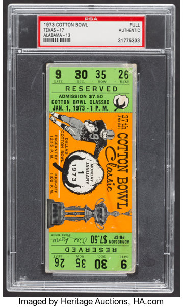 Football CollectiblesTickets 1973 Cotton Bowl Full Ticket