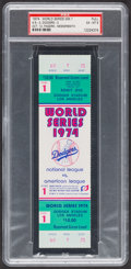 Baseball Collectibles:Tickets, 1974 World Series Game 1 Full Ticket, PSA EX-MT 6....