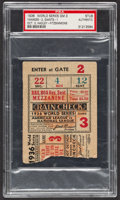 Baseball Collectibles:Tickets, 1936 World Series Game 3 Ticket Stub, PSA Authentic....