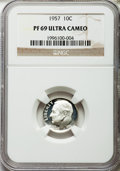 Proof Roosevelt Dimes: , 1957 10C PR69 Ultra Cameo NGC. NGC Census: (20/0). PCGS Population (4/0). Numismedia Wsl. Price for problem free NGC/PCGS ...
