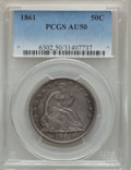 Seated Half Dollars, 1861 50C WB-101, AU50 PCGS. Gunmetal-gray toning reveals areas of golden luster. A few small abrasions dot the surfaces. PC...