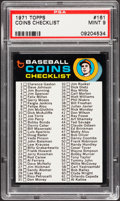 Baseball Cards:Singles (1970-Now), 1971 Topps Coins Checklist #161 PSA Mint 9....