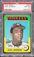 Baseball Cards:Singles (1970-Now), 1975 Topps Alex Johnson #534 PSA Gem Mint 10 - Pop Three....
