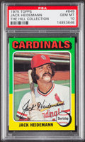 Baseball Cards:Singles (1970-Now), 1975 Topps Jack Heidemann #649 PSA Gem Mint 10 - Pop One....