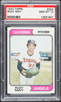 Baseball Cards:Singles (1970-Now), 1974 Topps Rudy May #302 PSA Gem Mint 10....
