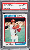 Baseball Cards:Singles (1970-Now), 1974 Topps Luis Melendez #307 PSA Gem Mint 10 - Pop One....