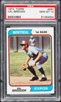Baseball Cards:Singles (1970-Now), 1974 Topps Hal Breeden #297 PSA Gem Mint 10 - Pop One....