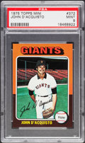 Baseball Cards:Singles (1970-Now), 1975 Topps Mini John D'Acquisto #372 PSA Mint 9....