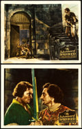 "Movie Posters:Swashbuckler, The Adventures of Robin Hood (Warner Brothers, 1938). Linen FinishLobby Cards (2) (11"" X 14"").. ... (Total: 2 Items)"