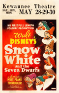 "Movie Posters:Animation, Snow White and the Seven Dwarfs (RKO, 1937). Window Card (14"" X22"") Red Style.. ..."