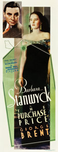 "Movie Posters:Drama, The Purchase Price (Warner Brothers, 1932). Insert (14"" X 36"")....."