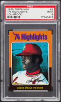 Baseball Cards:Singles (1970-Now), 1975 Topps Mini '74 Highlights Lou Brock #2 PSA Mint 9....