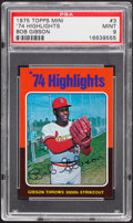 Baseball Cards:Singles (1970-Now), 1975 Topps Mini '74 Highlights Bob Gibson #3 PSA Mint 9....