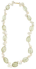 Estate Jewelry:Necklaces, Prasiolite Quartz, Freshwater Cultured Pearl, Gold Necklace. ...