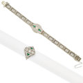 Estate Jewelry:Lots, Diamond, Synthetic Emerald, White Gold Jewelry. ... (Total: 2 Items)