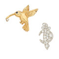 Estate Jewelry:Brooches - Pins, Diamond, Sapphire, Platinum, Gold Pins. ... (Total: 2 Items)