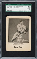 Baseball Cards:Singles (1930-1939), 1923 WG7 Walter Mails Game Walter Johnson, Red Back SGC 80 EX/NM 6.. ...