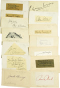 """Autographs:Celebrities, Thirteen Autographs of Creative Americans. This lot consists ofmostly clipped signatures mounted to 5"""" x 3"""" cards and featu...(Total: 13 Items)"""
