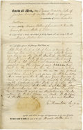 """Autographs:U.S. Presidents, William Henry Harrison Partially Printed Document Signed, """"W. H. Harrison Clerk,"""" three pages, 8"""" x 13"""", County, Ohio, J..."""