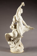 19th Century European, Woman with Chalice and Eagle. . Edouard Drouot, French(1859-1945). 19th Century. Marble. 36 inches high. ...