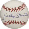 Autographs:Baseballs, Mickey Mantle Single Signed Baseball. The OAL (Brown) baseball is so perfectly pristine and white, it almost seems illumina...