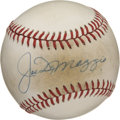 Autographs:Baseballs, Joe DiMaggio Single Signed Baseball. Having played his entire majorleague career with the New York Yankees, Joltin' Joe Di...