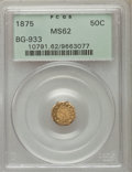 California Fractional Gold : , 1875 50C Indian Octagonal 50 Cents, BG-933, R.5, MS62 PCGS. PCGSPopulation (10/15). NGC Census: (1/4). ...