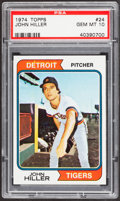 Baseball Cards:Singles (1970-Now), 1974 Topps John Hiller #24 PSA Gem Mint 10 - Pop Four....